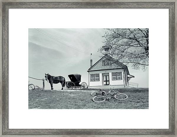 1950s Amish One-room Schoolhouse At Top Framed Print