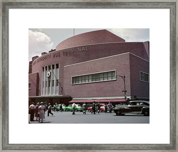 1950s Busy Street Level View Of New Framed Print