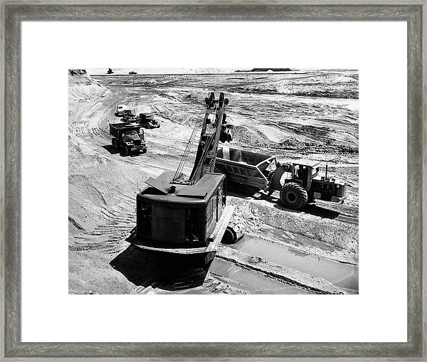 1950s Construction Site Excavation Framed Print