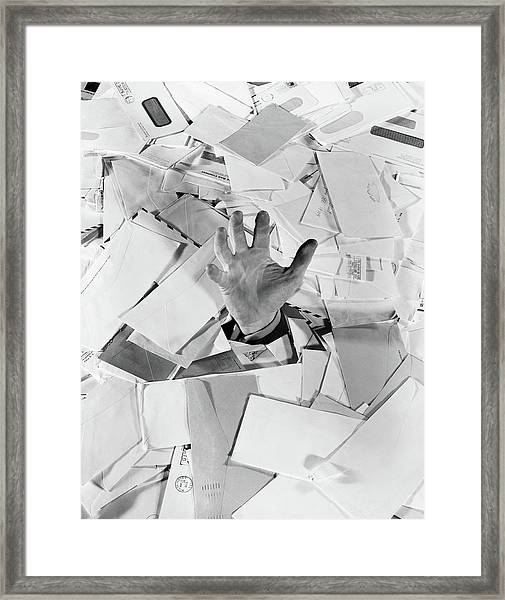 1950s Male Hand Sticking Out Of Pile Framed Print