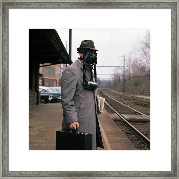 1950s Man Wearing Gas Mask Hat Framed Print