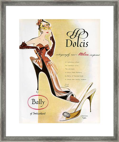 1950s Uk Dolcis Magazine Advert Framed Print