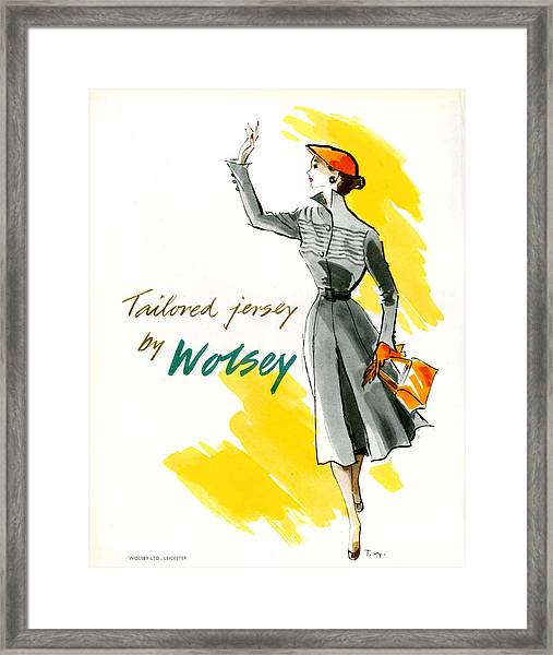 1950s Uk Wolsey Magazine Advert Framed Print