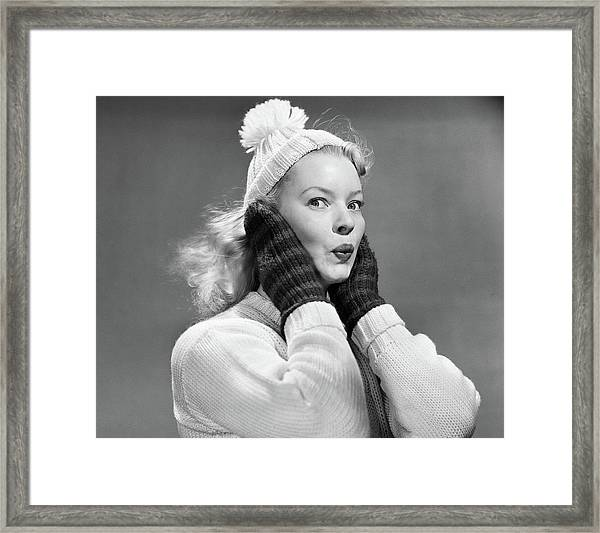 1950s Young Woman Pursing Lips Hands Framed Print