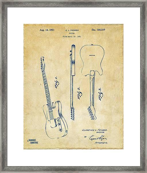 1951 Fender Electric Guitar Patent Artwork - Vintage Framed Print