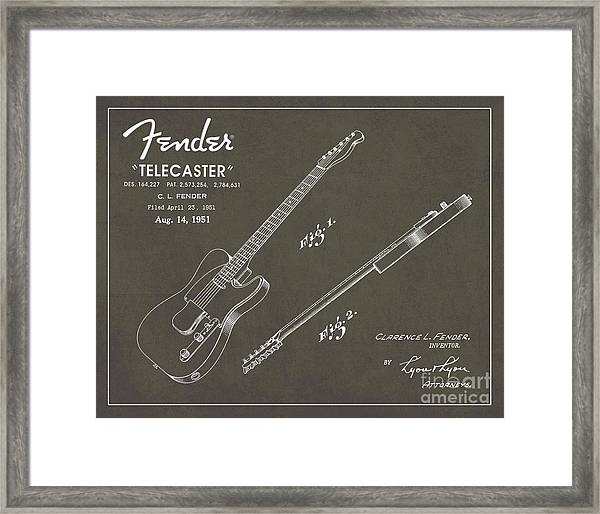 1951 Fender Telecaster Guitar Patent Art In White Chalk On Gray  Framed Print