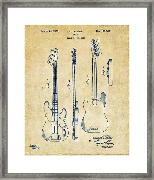 1953 Fender Bass Guitar Patent Artwork - Vintage Framed Print
