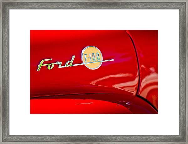1955 Ford F-100 Pickup Truck Side Emblem -3515c Framed Print