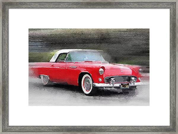 1955 Ford Thunderbird Watercolor Framed Print