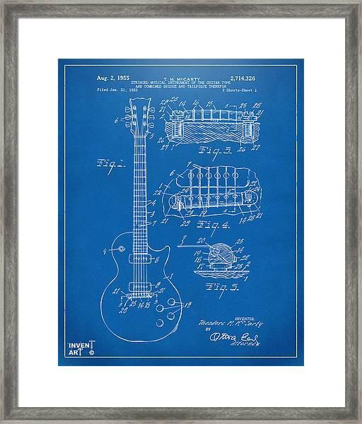 1955 Mccarty Gibson Les Paul Guitar Patent Artwork Blueprint Framed Print