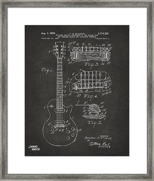 1955 Mccarty Gibson Les Paul Guitar Patent Artwork - Gray Framed Print