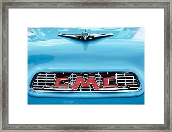 1956 Gmc 100 Deluxe Edition Pickup Truck Hood Ornament - Grille Emblem Framed Print