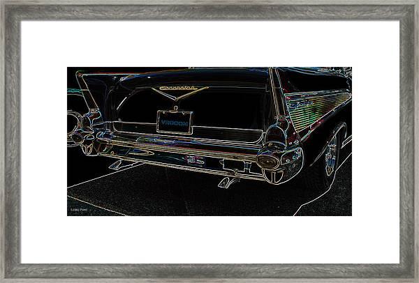 1957 Chevrolet Rear View Art Black_varooom Tag Framed Print