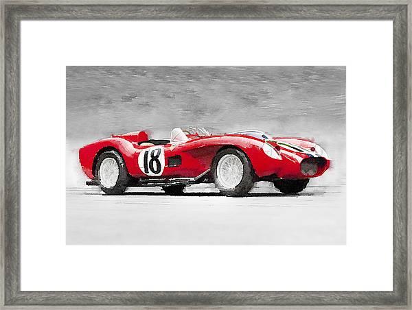 1957 Ferrari Testarossa Watercolor Framed Print