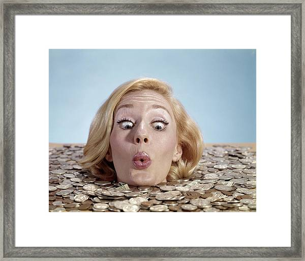 1960s Blond Woman Funny Facial Framed Print