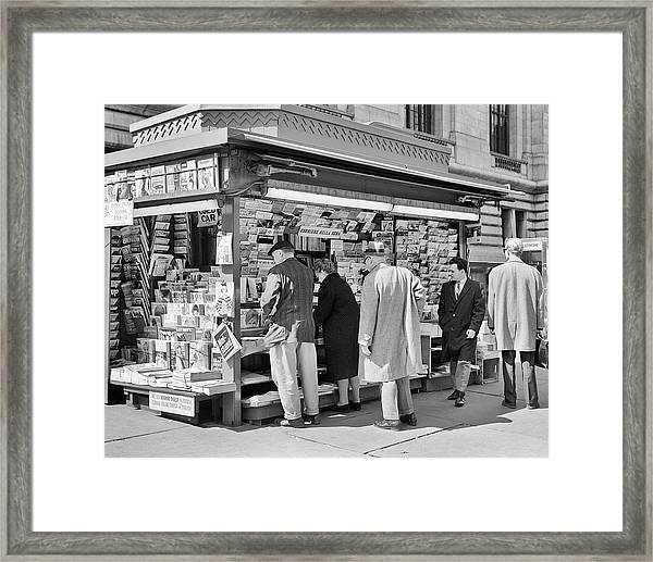 1960s People At Newsstand 42nd Street Framed Print