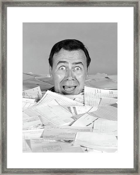 1960s Portrait Of Bug-eyed Screaming Framed Print