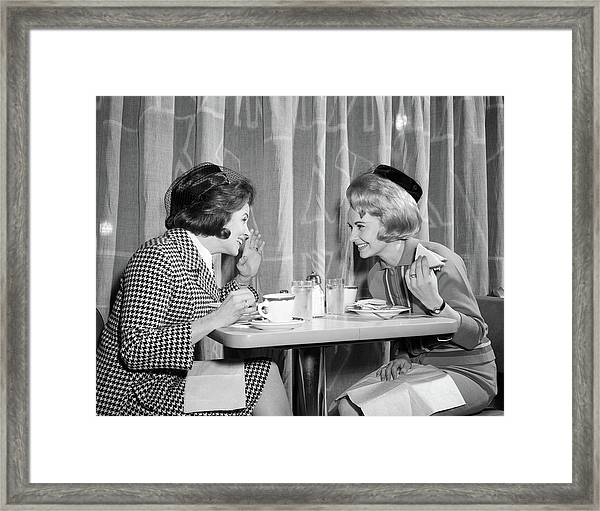 1960s Two Women Gossiping At Lunch Framed Print