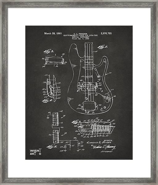 1961 Fender Guitar Patent Artwork - Gray Framed Print