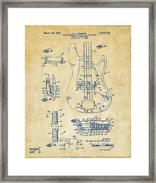 1961 Fender Guitar Patent Artwork - Vintage Framed Print