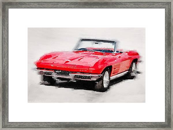 1964 Corvette Stingray Watercolor Framed Print