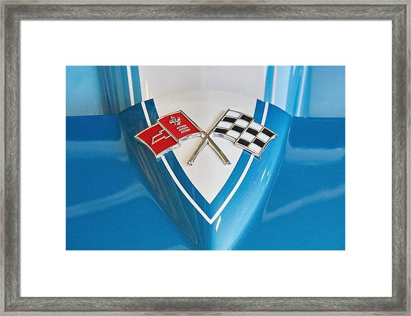 1965 Corvette Flags Emblem Framed Print