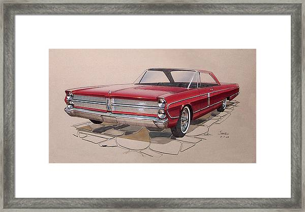 1965 Plymouth Fury  Vintage Styling Design Concept Rendering Sketch Framed Print by John Samsen