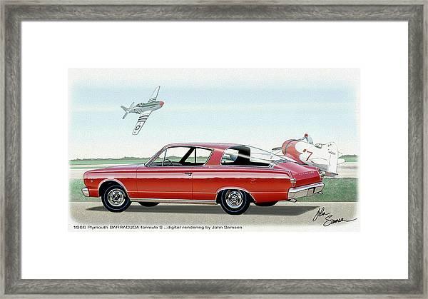 1966 Barracuda  Classic Plymouth Muscle Car Sketch Rendering Framed Print by John Samsen
