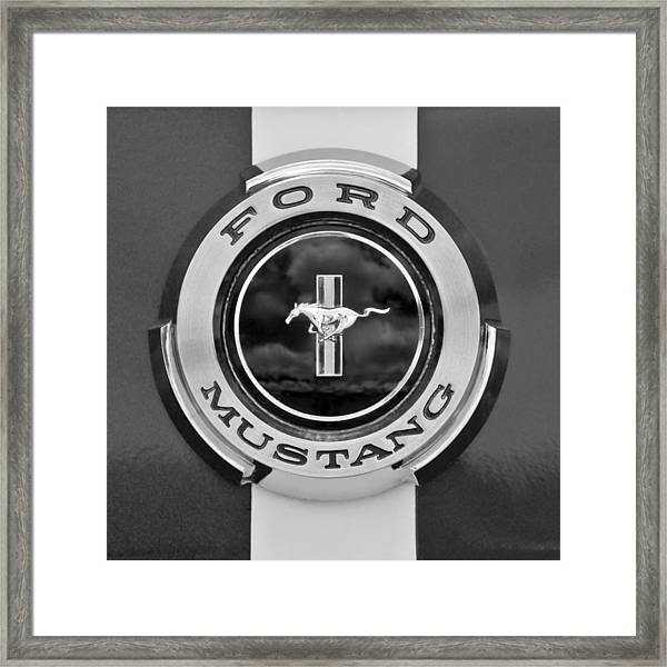 1966 Ford Mustang Shelby Gt 350 Emblem Gas Cap -0295bw Framed Print
