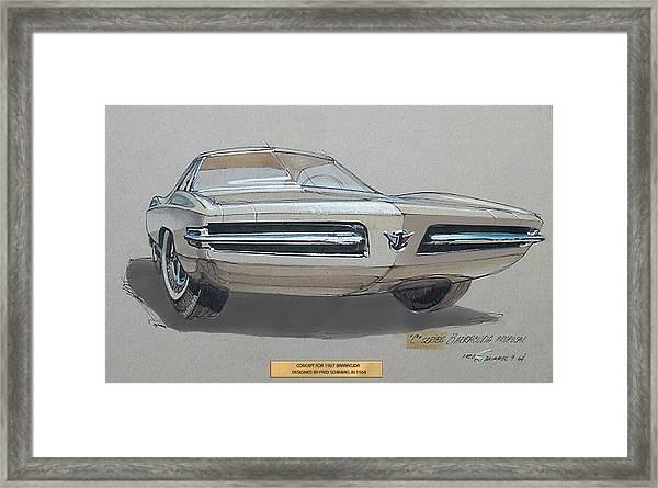 1967 Barracuda  Plymouth Vintage Styling Design Concept Rendering Sketch Fred Schimmel Framed Print by ArtFindsUSA