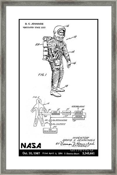 1967 Nasa Astronaut Ventilated Space Suit Patent Art 3 Framed Print