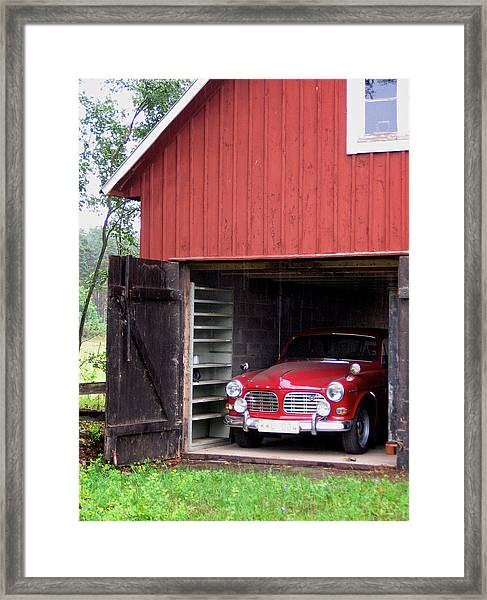 1967 Volvo In Red Sweden Barn Framed Print