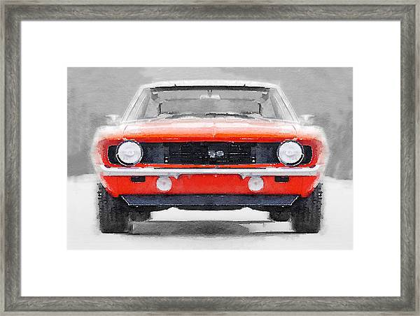 1968 Chevy Camaro Ss Watercolor Framed Print