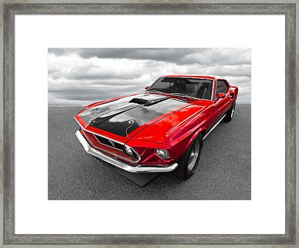 1969 Red 428 Mach 1 Cobra Jet Mustang Framed Print