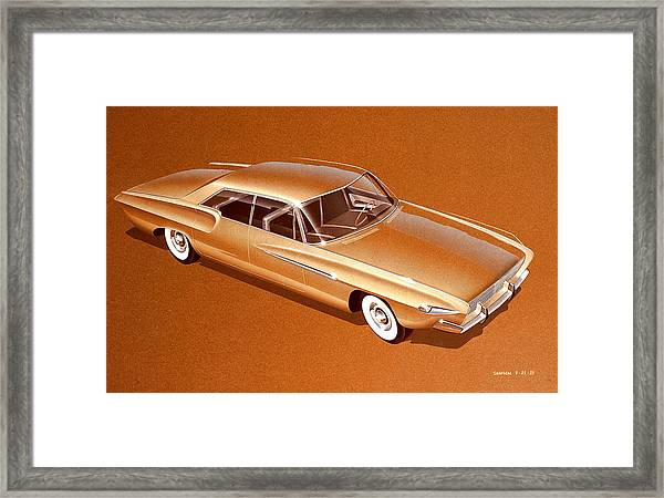 1970 Barracuda  Cuda Plymouth Vintage Styling Design Concept Sketch Framed Print by John Samsen