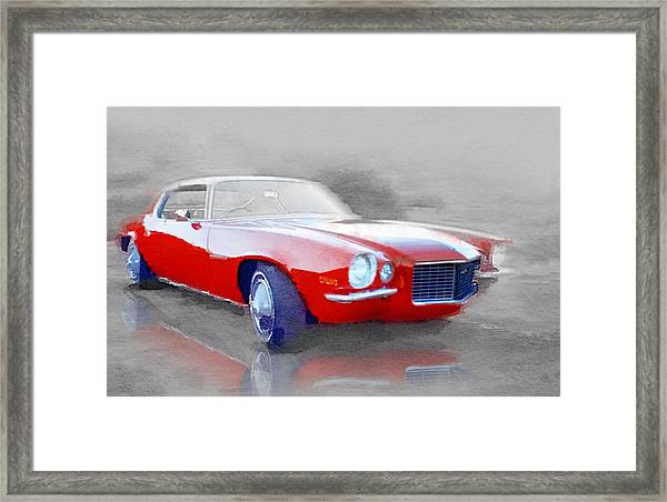 1970 Chevy Camaro Watercolor Framed Print