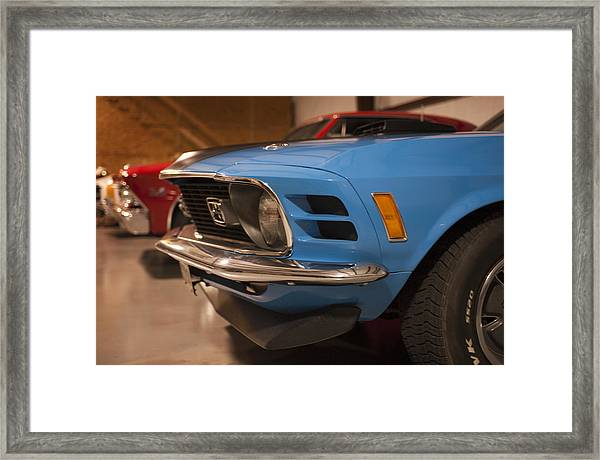 1970 Mustang Mach 1 And Other Classics Hidden In A Garage Framed Print
