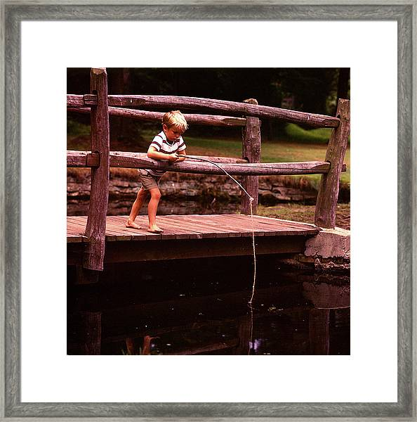 1970s Barefoot Blond Boy Fishing Framed Print