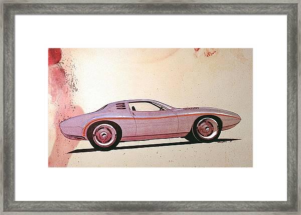 1972 Barracuda  J Cuda Vintage Styling Design Concept Sketch Framed Print by John Samsen