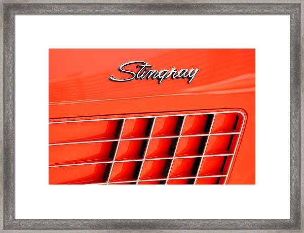 1972 Chevrolet Corvette Stingray Emblem 3 Framed Print