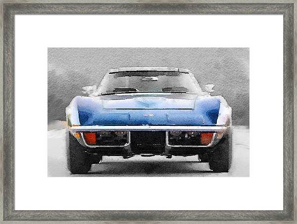 1972 Corvette Front End Watercolor Framed Print