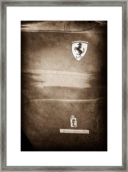 1972 Ferrari 365 Gtc-4 Emblems Framed Print