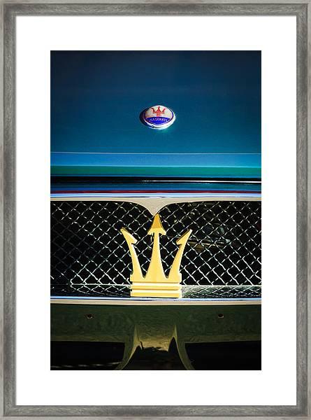 1972 Maserati Ghibli Grille - Hood Emblems Framed Print