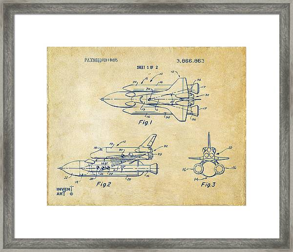 1975 Space Shuttle Patent - Vintage Framed Print