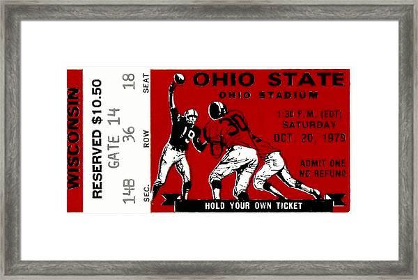 1979 Ohio State Vs Wisconsin Football Ticket Framed Print