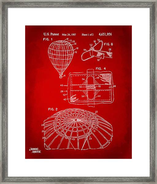 1987 Hot Air Balloon Patent Artwork - Red Framed Print