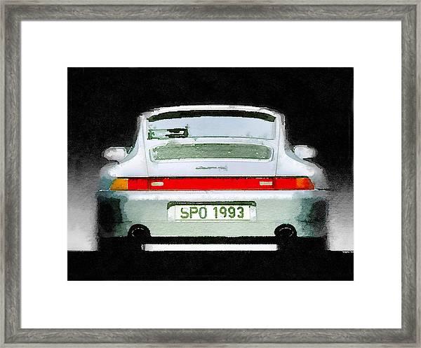 1993 Porsche 911 Rear Watercolor Framed Print