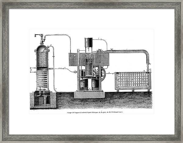 19th Century Ice-making Machine Framed Print by Collection Abecasis/science Photo Library