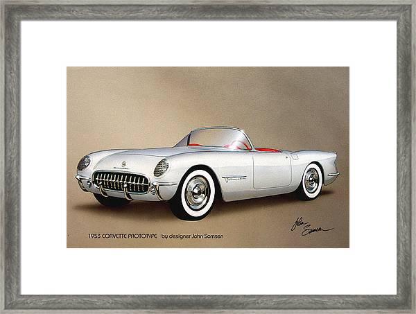 1953 Corvette Classic Vintage Sports Car Automotive Art Framed Print