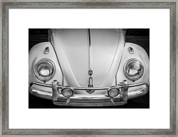 1960 Volkswagen Beetle Vw Bug   Bw Framed Print